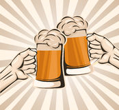 Toasting with beer. Vector illustration background Stock Photos