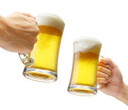 Toasting with beers stock photo