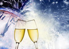 Toasting with champagne glasses Stock Image