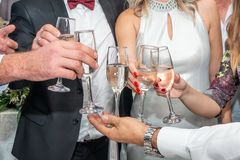 Toasting with champagne at wedding party stock image