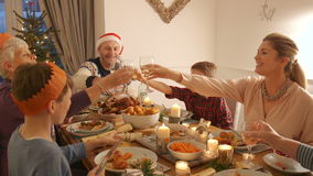 Toasting At Christmas Dinner. Family are toasting their glasses before they eat their christmas dinner stock video