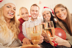 Toasting for Christmas or New Year Royalty Free Stock Photos