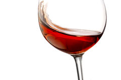 Toasting gesture red and rosé wine with splash, cheers close up with wine isolated. Toasting gesture with red wine with splash, cheers close up with wine Stock Photography