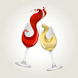 Toasting gesture red and white wine Stock Photo