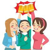 Toasting Girl Friends. Three beautiful happy young women friends toasting with glass beer mug Stock Image