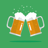 Toasting glasses of beer. Vector Illustration Stock Photography