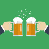 Toasting glasses of beer. Vector Illustration Royalty Free Stock Photography