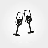 Toasting with wine Icon. Toasting with two glasses of wine glyph icon Royalty Free Stock Images