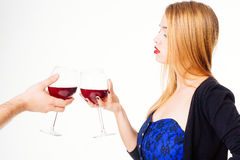 Toasting with wine Royalty Free Stock Photo