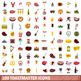 100 toastmaster icons set, flat style. 100 toastmaster icons set in flat style for any design vector illustration Stock Illustration
