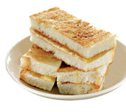 Toasts. Stacks of Butter and Kaya Toast, White Background Stock Photos