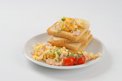 Toasts And Scrambled Eggs Royalty Free Stock Photography
