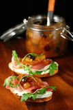 Toasts with apple chutney Royalty Free Stock Photo