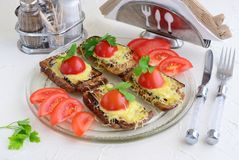 Toasts with aubergine, cheese and tomato on a glass plate. royalty free stock images