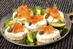 Toasts with avocado and smoked salmon Royalty Free Stock Photos