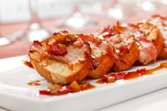 Toasts with bacon Royalty Free Stock Images