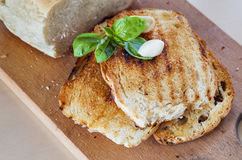 Toasts basil bread garlic Stock Photography