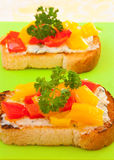 Toasts with bell pepper and cheese Royalty Free Stock Images