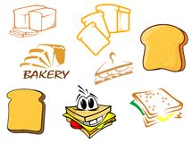 Toasts and bread icons Royalty Free Stock Photos
