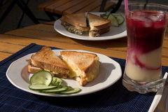 Toasts for breakfast. Toasts and juice royalty free stock photos