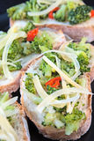 Toasts with broccoli cabbage Royalty Free Stock Photos