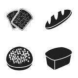 Toasts, a burger for a hamburger, a loaf of rifle bread, a rectangular rye bread. Bread set collection icons in black Stock Photos