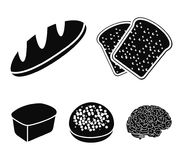 Toasts, a burger for a hamburger, a loaf of rifle bread, a rectangular rye bread. Bread set collection icons in black. Style vector symbol stock illustration Royalty Free Stock Image