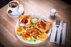Toasts with cheese and bacon Royalty Free Stock Images
