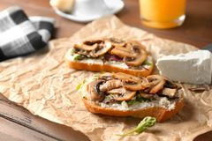 Toasts with cheese and fried mushrooms Stock Photos