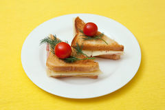 Toasts with cheese and ham Stock Image