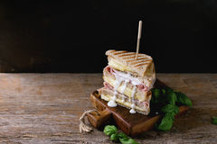 Toasts with cheese and ham Stock Photos