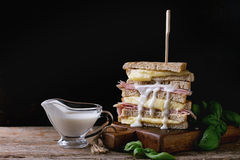 Toasts with cheese and ham Royalty Free Stock Images