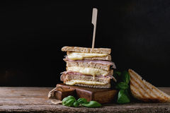 Toasts with cheese and ham Stock Photography