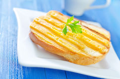 Toasts with cheese Royalty Free Stock Images