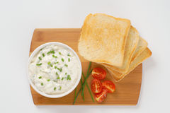 Toasts and chives spread Stock Photo
