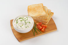 Toasts and chives spread Royalty Free Stock Images