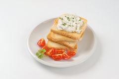 Toasts with chives spread Royalty Free Stock Images