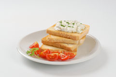 Toasts with chives spread Royalty Free Stock Photo