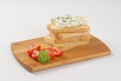 Toasts with chives spread Stock Photos