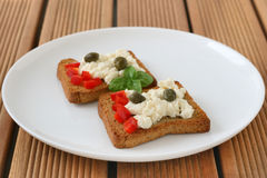Toasts with cottage cheese Stock Photos