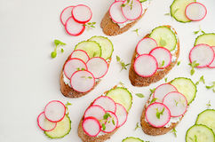 Toasts with cottage cheese cream, radish and cucumber. Top view. Copy space Stock Photography