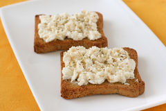 Toasts with cream cheese Royalty Free Stock Image