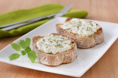 Toasts with cream cheese Royalty Free Stock Images