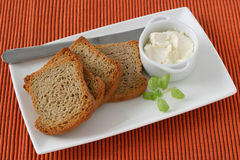 Toasts with cream cheese Royalty Free Stock Photos