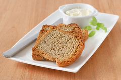 Toasts with cream cheese Stock Images