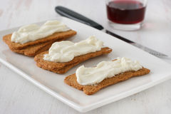 Toasts with cream cheese Royalty Free Stock Photography