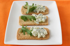 Toasts with cucumber dip Royalty Free Stock Image
