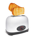 Toasts flying out of toaster isolated Royalty Free Stock Image