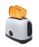 Toasts flying out of toaster isolated Royalty Free Stock Images