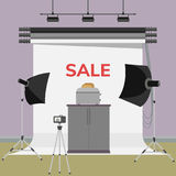 Toasts flying out of toaster. Sale advertisement. Toasts flying out of toaster. Making photo in studio. Flat  illustration Royalty Free Stock Image